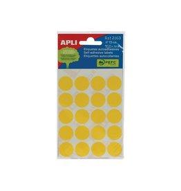 Apli Apli ronde etiketten in etui 19mm geel 100st 20/blad (2063)