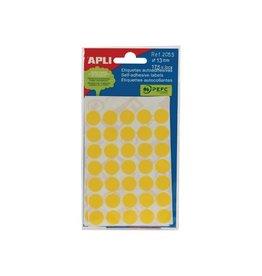 Apli Apli ronde etiketten in etui 13mm geel 175st 35/blad (2055)