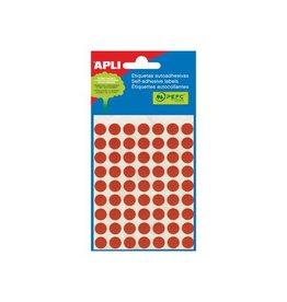 Apli Apli ronde etiketten in etui 10mm rood 315st 63/blad (2053)