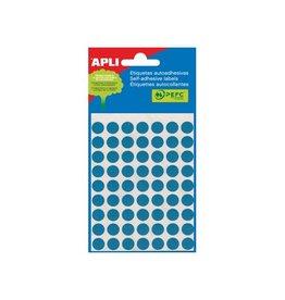 Apli Apli ronde etiketten in etui 10mm blauw 315st 63/blad (2052)