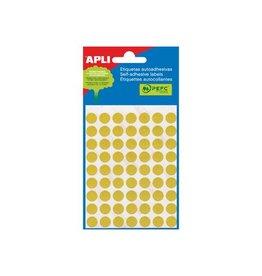 Apli Apli ronde etiketten in etui 10mm geel 315st 63/blad (2051)