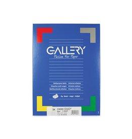 Gallery Gallery witte etik. 70x37 mm rechte hoeken, 2.400 etik.