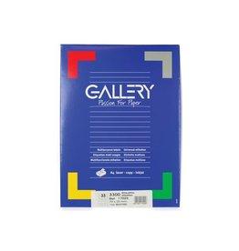 Gallery Gallery witte etik. 70x25 mm rechte hoeken, 3.300 etik.