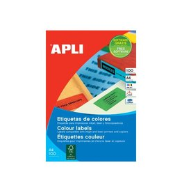 Apli Apli Gekleurde etiketten 105x148mm gr. 80st 4/blad etui 20bl
