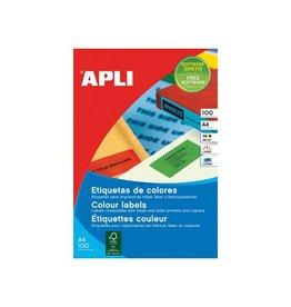 Apli Apli Gekleurde etiketten 105x148mm bl. 80st 4/blad etui 20bl