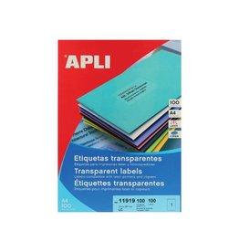 Apli Apli transp.e etiketten 210x297mm 100st 1/blad doos 100 blad