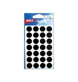 Agipa Agipa ronde etiketten in etui 15mm zwart, 168st, 28 per blad
