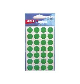 Agipa Agipa ronde etiketten in etui 15mm, groen, 168st, 28/blad