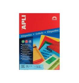 Apli Apli Gekleurde etiketten 210x297mm (bxh) blauw 100st 1/blad