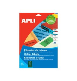 Apli Apli Gekleurde etiketten 210x297mm (bxh) geel 100st 1/blad