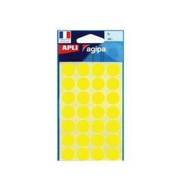 Agipa Agipa ronde etiketten in etui 15mm, geel, 168st, 28 per blad