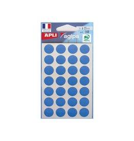 Agipa Agipa ronde etiketten in etui 15mm blauw, 168st, 28 per blad