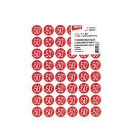 Apli Agipa Kortinglabel -50%, rood, pak van 192 stuks
