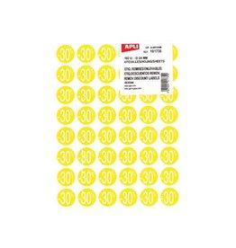 Apli Agipa Kortinglabel -30%, geel, pak van 192 stuks