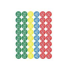 Apli Agipa Kortinglabel van -20% tot - 50%, geassorteerde kleuren