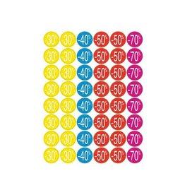 Apli Agipa kortinglabel van -30% tot -70%, geassorteerde kleuren