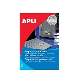 Apli Apli etiketten ft 210x297mm (bxh), 20st, 1 per blad, zilver