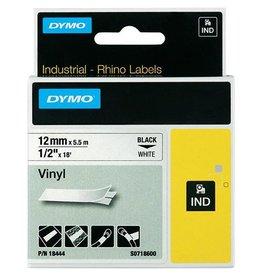 Dymo Dymo RHINO vinyltape 12 mm, zwart op wit [5st]