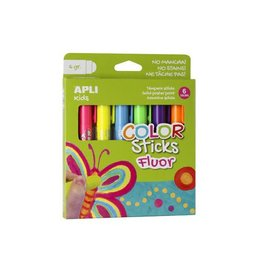 Apli Kids Apli Kids color sticks fluor, blister met 6 stuks
