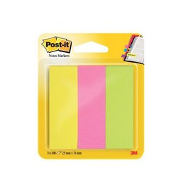 Post-it Post-it notes markeerstroken 25x76mm neon assorti 3x100 vel