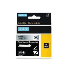 Dymo Dymo RHINO tape permanent polyester 19 mm, zwart op metaal