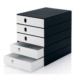 Styro Styro ladenblok Stryoval Pro met 5 gesloten laden, zwart/wit
