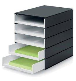 Styro Styro ladenblok Stryoval Pro met 5 open laden, zwart/wit