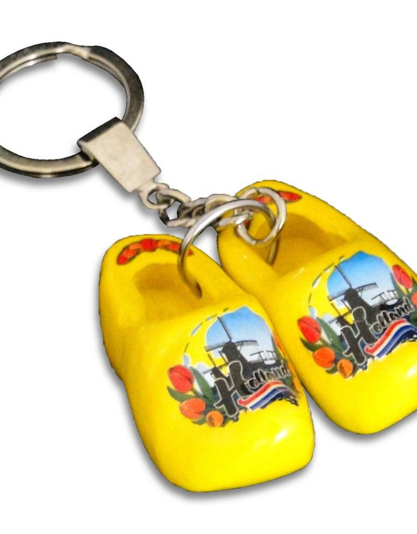 woodenshoe pair keyhanger Yellow with logo