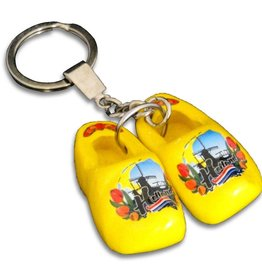 woodenshoe pair keyhanger Yellow with logo