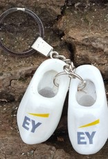 woodenshoe pair keyhanger WHITE with logo or text