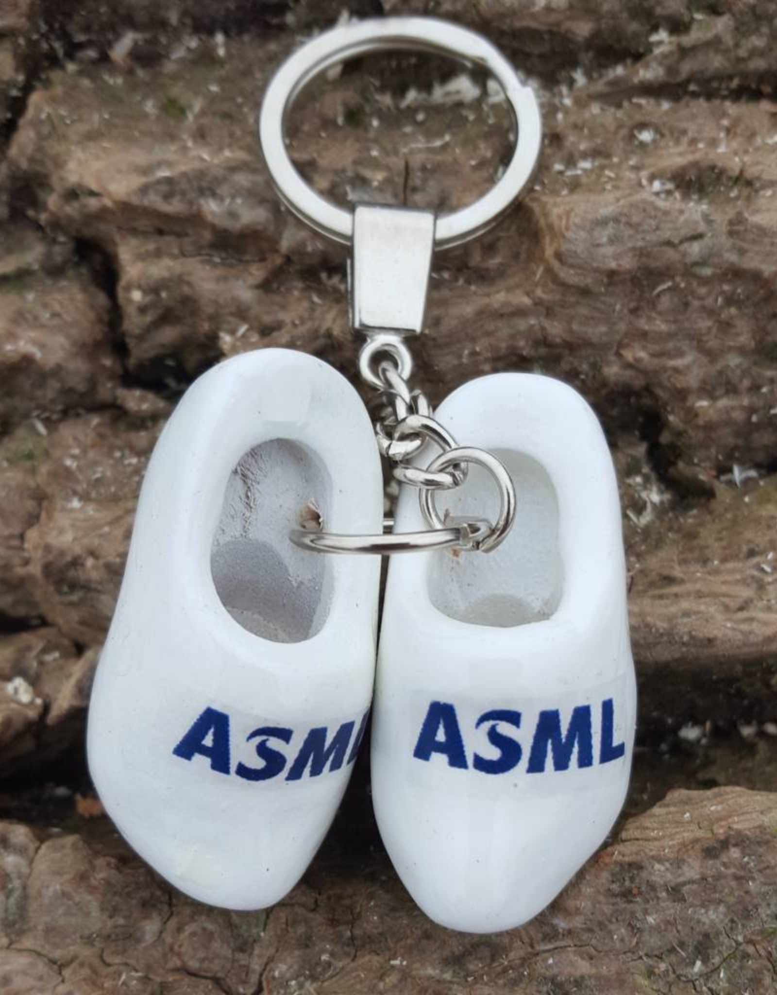 Dubbele Klomp sleutelhanger bedrukken met logo of tekst (Wit)