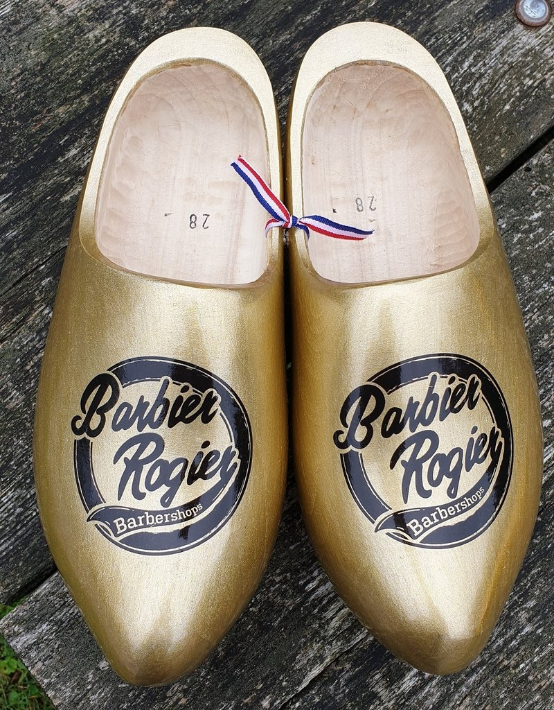 Wilhelmus Golden woodenshoes with personal text or logo