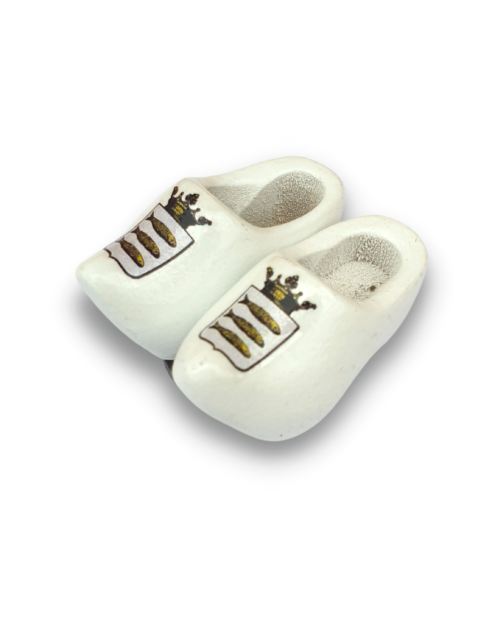 woodenshoe pair magnet white with logo or text