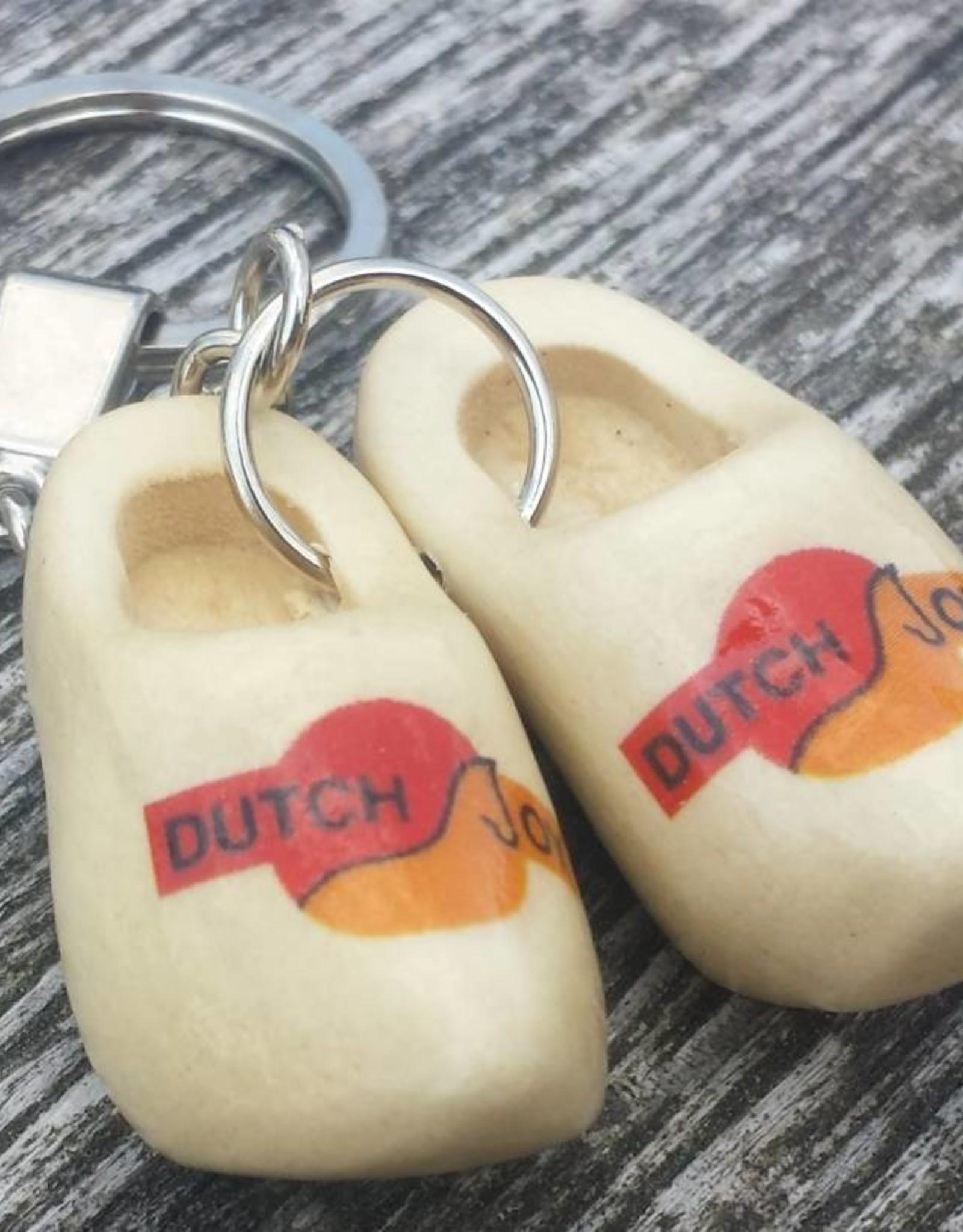 Dubbele Klomp sleutelhangers met logo of tekst