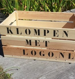 Large wooden crate with print