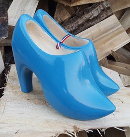 High heel wooden shoes with logo