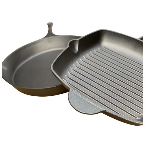 Gietijzeren grillpan set vierkant en rond - preseasoned