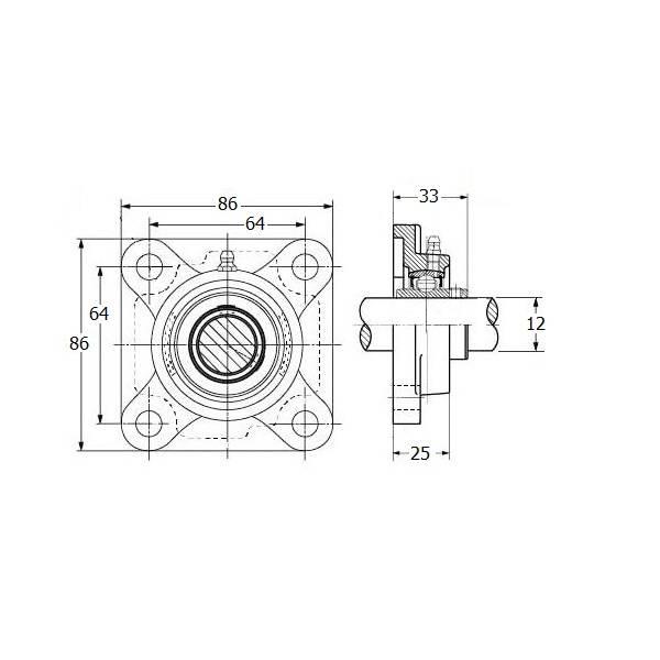 IBB Stalen lager, flenslager, asgat 12 mm
