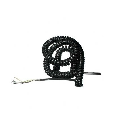 Spiraalkabel lang, 5-aderig, zwart