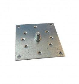Selve Stalen bevestigingsplaat 100x100 mm met as Ø 12 mm