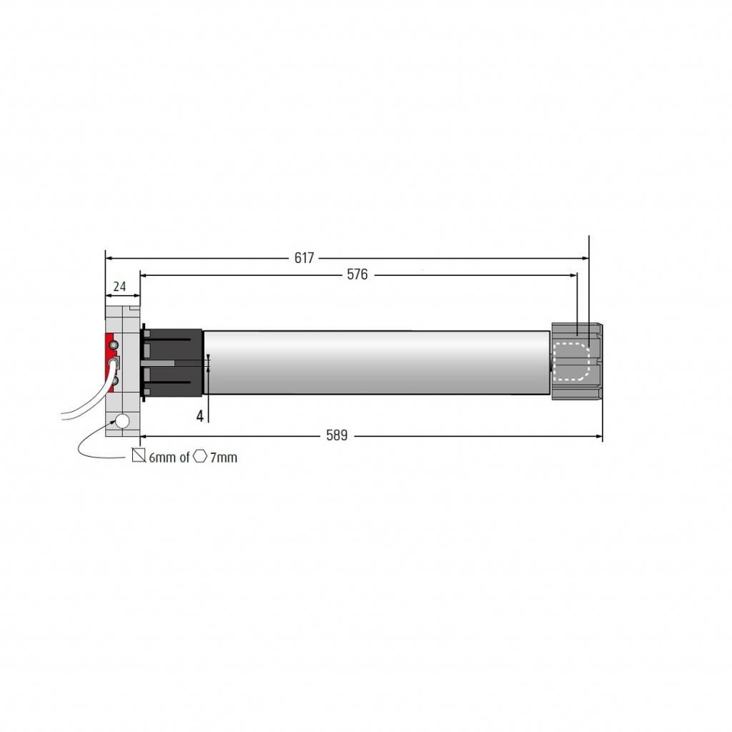 Simu T5 DMI buismotor met noodhandbediening