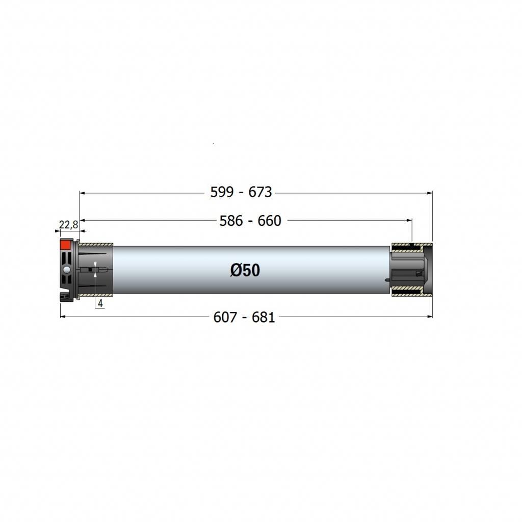 Simu T5 E SP Hz buismotor met geïntegreerde ontvanger voor cassetteschermen