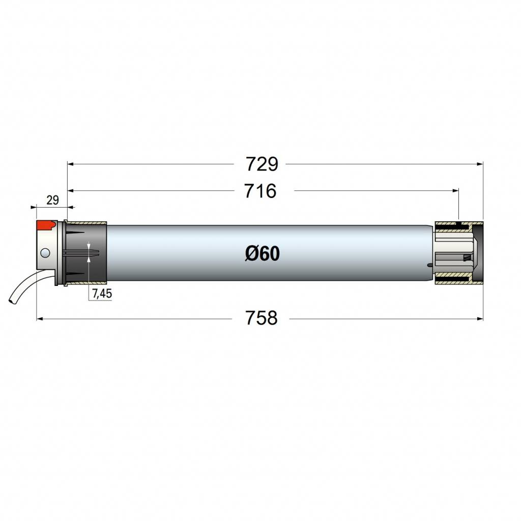 Simu T6 Hz buismotor met geïntegreerde ontvanger