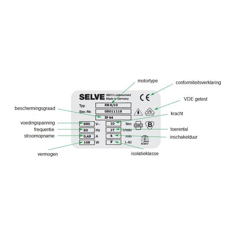 Selve SEL Plus RC , type 1 buismotor