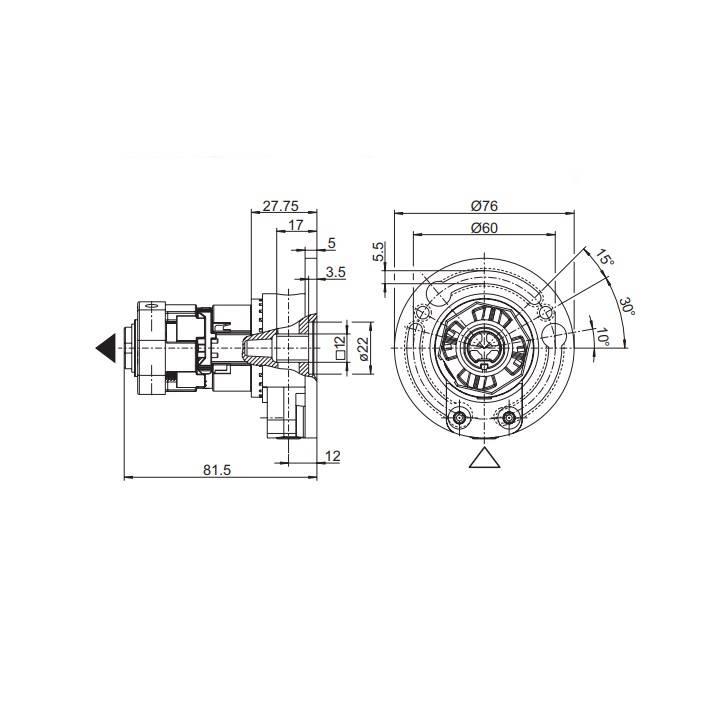 Geiger Windwerk 1:3 Geiger 8 kant 40, asgat vierkant 6 mm, met vrijloop