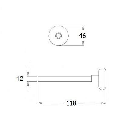 Loopwiel kort, as Ø 12 mm, lengte 118 mm