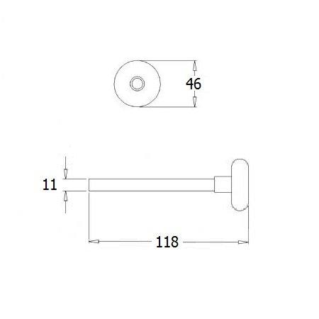Loopwiel RVS kort, as Ø 11 mm, lengte 118 mm