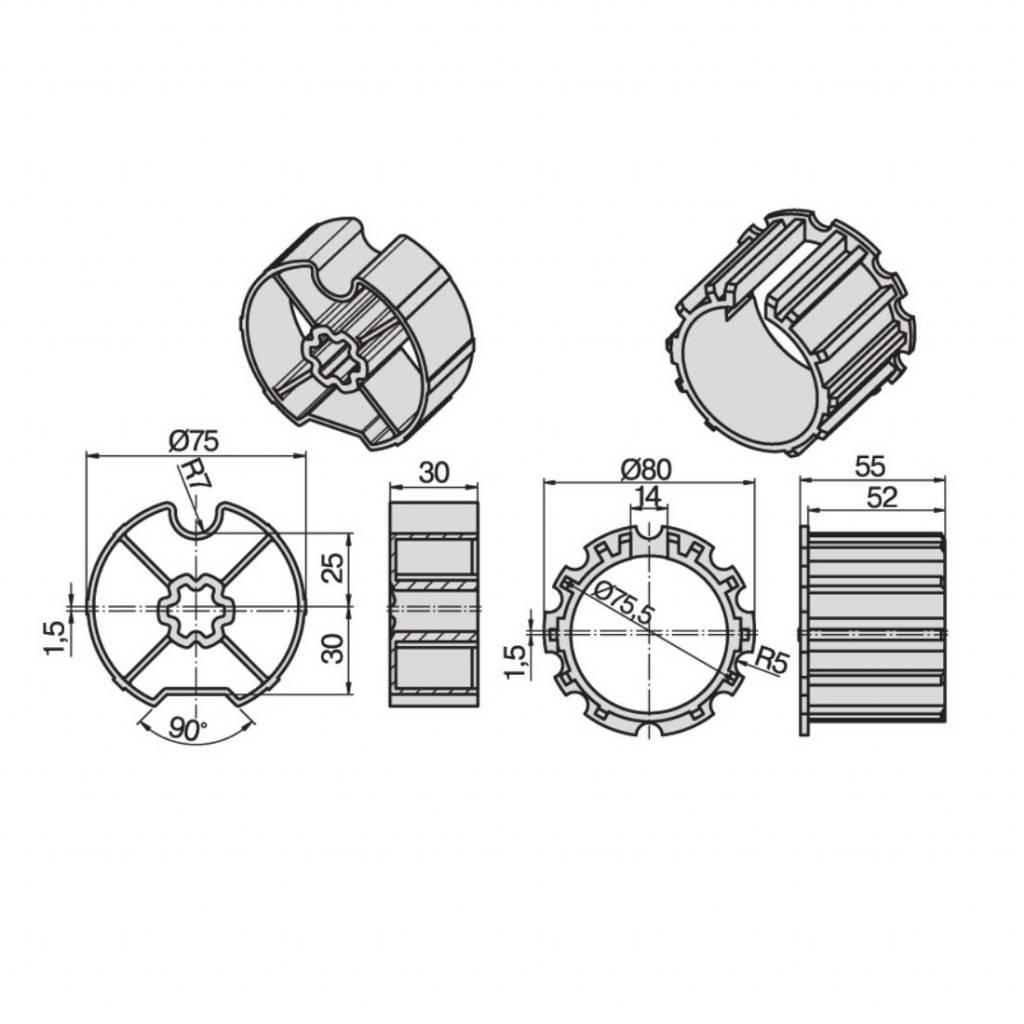 Becker Adaptieset Ø 78 - L serie motoren - Copy