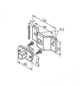 Nice Motorsteun S vierkante pen 10 mm + beugel Ø 5 mm