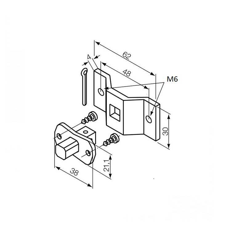 Nice Motorsteun S vierkante pen 10 mm + beugel M6